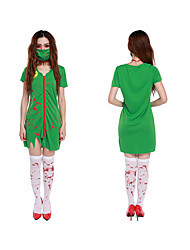 cheap -Nurse Cosplay Costume Adults' Women's Cosplay Halloween Halloween Halloween Festival / Holiday 100g / m2 Polyester Knit Stretch Green Women's Carnival Costumes Creative / Dress / Mask