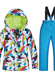 cheap -MUTUSNOW Girls' Ski Jacket with Pants Skiing Snowboarding Winter Sports Thermal / Warm Waterproof Windproof Space Cotton Terylene Flannel Clothing Suit Ski Wear