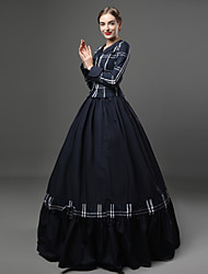 cheap -Rococo Victorian 18th Century Dress Outfits Women's Cotton Costume Blue Vintage Cosplay Party Prom Long Sleeve Floor Length Long Length Ball Gown Plus Size Customized
