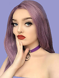cheap -Synthetic Lace Front Wig Silky Straight Middle Part Lace Front Wig Long Dark Purple Synthetic Hair 20-24 inch Women's Party Synthetic Easy dressing Gray