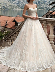 cheap -A-Line Sweetheart Neckline Sweep / Brush Train Lace Strapless Formal Illusion Detail Made-To-Measure Wedding Dresses with 2020