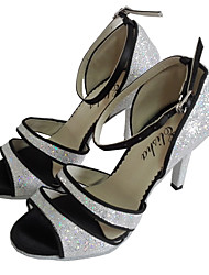 cheap -Women's Dance Shoes Synthetics Latin Shoes Sparkling Glitter Heel Slim High Heel Silver