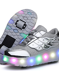 cheap -Boys' Girls' Sneakers LED Shoes USB Charging Halloween PU Heelys Shoes Little Kids(4-7ys) Big Kids(7years +) Daily Walking Shoes Sequin Pink Gold Silver Fall Spring