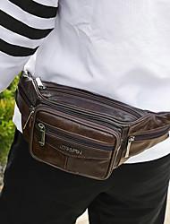 Недорогие -Универсальные Молнии Воловья кожа Поясная сумка Сплошной цвет Черный / Коричневый