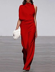 cheap -Women's Commuting Asymmetry Sleeve Pure Colour Jumpsuit White Black Red