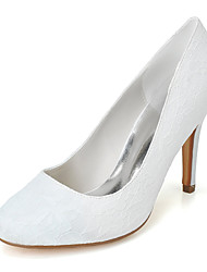cheap -Women's Wedding Shoes Stiletto Heel Round Toe Wedding Pumps Minimalism Wedding Party & Evening Lace Lace Floral White Blue Ivory
