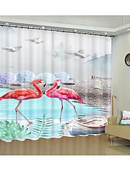 cheap -Flamingo environmental protection digital printing 3d curtain flamingo creative shade curtain high precision black silk cloth high quality grade a shade bedroom living room curtain