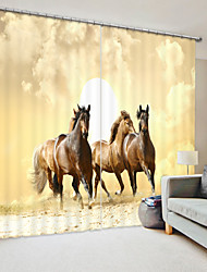 cheap -Horse Digital Printing in Front of Golden Background 3D Curtain Shading Curtain High Precision Black Silk Fabric High Quality Curtain