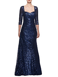 cheap -A-Line Square Neck Floor Length Sequined Sparkle & Shine Formal Evening Dress with Ruched 2020
