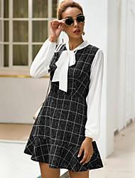 cheap -Women's Daily Wear Basic A Line Dress - Plaid Light gray Dark Gray S M L XL