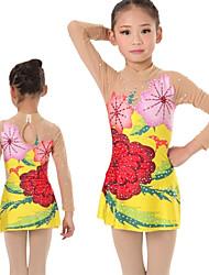 cheap -Rhythmic Gymnastics Leotards Artistic Gymnastics Leotards Women's Girls' Leotard Yellow Spandex High Elasticity Handmade Print Jeweled Long Sleeve Competition Ballet Dance Ice Skating Rhythmic