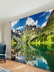 cheap -Landscape Picturesque Digital Printing 3D Curtain Shading Curtain High Precision Black Silk Fabric High Quality Curtain