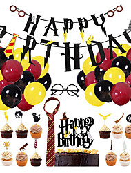 cheap -1set Harri Potter Happy Birthday Garland Cake Topper Big Latex Balloons for Birthday Party Decoration Hanging Bunting Banner Kids Toy
