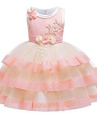 cheap -Kids Girls' Color Block Jacquard Mesh Sleeveless Dress Blushing Pink
