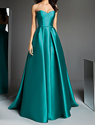 cheap -A-Line Elegant Prom Formal Evening Dress Strapless Sleeveless Sweep / Brush Train Satin with Draping 2020