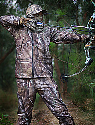 cheap -Men's Hunting Jacket with Pants Outdoor Waterproof Windproof Warm Comfortable Spring Fall Winter Camo / Camouflage Clothing Suit Fleece Cotton Camping / Hiking Hunting Climbing Camouflage / 5pcs