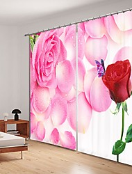 cheap -Red Rose Digital Printing Under Pink Rose 3D Curtain Shading Curtain High Precision Black Silk Fabric High Quality Curtain