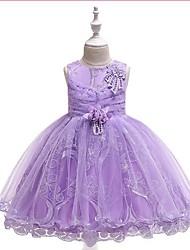 cheap -Kids Girls' Jacquard Mesh Sleeveless Dress Purple