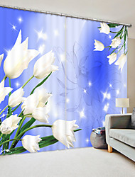 cheap -White Tulip Digital Printing 3D Curtain in Front of Blue Background Blackout Curtain High Precision Black Silk Fabric High Quality Curtain