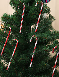 cheap -12 Pcs Candy Cane Plastic Christmas Tree Cane Striped Hanging Holiday Ornaments