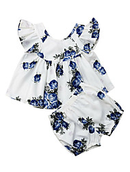 cheap -Baby Girls' Active Rose Floral Print Sleeveless Long Clothing Set White
