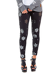 cheap -Women's Street chic / Punk & Gothic Christmas Slim Jogger / Chinos Pants - Print Print Black S M L
