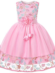 cheap -Kids Toddler Girls' Active Cute Floral Color Block Jacquard Bow Embroidered Layered Sleeveless Knee-length Dress Blushing Pink