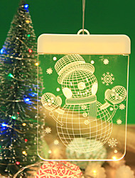 cheap -Fairy String Lights 6 LEDs High Power LED Warm White Christmas / New Year's Creative / Snowman Design Sign / Decorative Batteries Powered 1pc