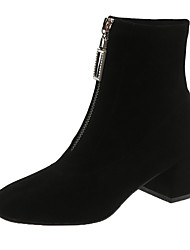 cheap -Women's Boots Chunky Heel Square Toe Suede Fall Black