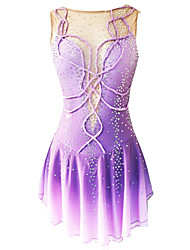 cheap -21Grams Figure Skating Dress Women's Girls' Ice Skating Dress Purple Open Back Spandex Micro-elastic Training Skating Wear Classic Crystal / Rhinestone Sleeveless Ice Skating Figure Skating