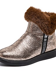 cheap -Women's Boots Flat Heel Round Toe Pom-pom Suede Booties / Ankle Boots Casual / Minimalism Winter Black / Gold / Red