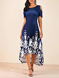 Недорогие -Жен. Большие размеры С летящей юбкой Платье - Цветочный принт, Аппликация С принтом Средней длины