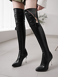 cheap -Women's Boots Over-The-Knee Boots Stiletto Heel Pointed Toe Tassel PU Over The Knee Boots Classic Spring &  Fall / Fall & Winter Black / White / Red / Wedding / Party & Evening