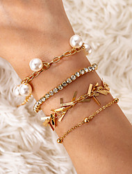 cheap -4pcs Women's Clear Vintage Bracelet Earrings / Bracelet Pendant Bracelet Tassel Lucky Vintage Korean Fashion Elegant Colorful Imitation Pearl Bracelet Jewelry Gold For Gift Daily Holiday Festival