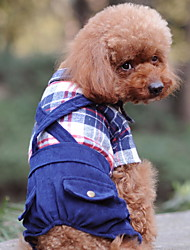 cheap -Dogs Cats Pets Jumpsuit Winter Dog Clothes Black Dark Blue Coffee Costume Baby Small Dog Polyster Spots & Checks Classic S M L XL XXL