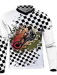 cheap -21Grams Men's Long Sleeve Cycling Jersey Dirt Bike Jersey Winter Fleece 100% Polyester Black / White Bike Jersey Motorcyle Clothing Top Mountain Bike MTB Road Bike Cycling UV Resistant Breathable