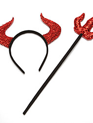 cheap -Devil Halloween Props Men's Headpieces Halloween Halloween Festival / Holiday Plastics Red Men's Women's Carnival Costumes