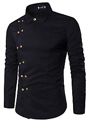 cheap -Men's Solid Colored Shirt Long Sleeve Daily Tops White Black Red