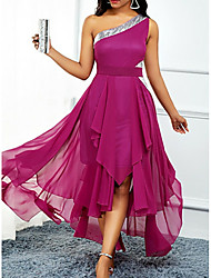 cheap -A-Line Hot Pink Wedding Guest Cocktail Party Dress One Shoulder Sleeveless Asymmetrical Chiffon with Pleats Sequin 2020