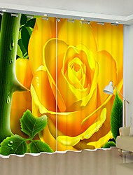 cheap -Yellow Flower Digital Printing 3D Curtain Shading Curtain High Precision Black Silk Cloth High Quality Curtain
