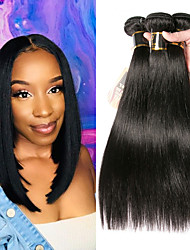 cheap -3 Bundles Brazilian Hair Straight Virgin Human Hair Natural Color Hair Weaves / Hair Bulk Bundle Hair One Pack Solution 8-28 inch Natural Color Human Hair Weaves Simple Odor Free Smooth Human Hair