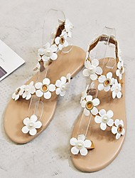 cheap -Women's Sandals Flat Heel Peep Toe PU Summer White