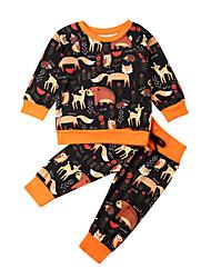 cheap -Baby Boys' Active Print Print Long Sleeve Long Long Clothing Set