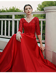cheap -A-Line V Wire Floor Length Cotton / Lace / Jersey Plus Size / Minimalist Formal Evening Dress with Lace Insert 2020