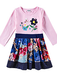 cheap -Kids Girls' Vintage Tropical Leaf Sun Flower Floral Trees / Leaves Tribal Embroidered Patchwork Long Sleeve Knee-length Dress Blushing Pink / Cotton