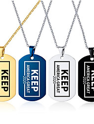 cheap -Men's Pendant Necklace Geometrical Totem Series Fashion Stainless Steel Black Gold Silver Blue 55 cm Necklace Jewelry 1pc For Daily Work