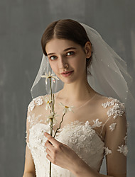 cheap -Two-tier Glamorous & Dramatic / Sweet Wedding Veil Shoulder Veils with Faux Pearl / Solid Tulle / Angel cut / Waterfall