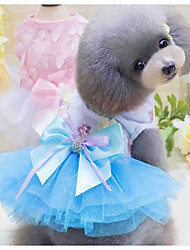 cheap -Dogs Cats Pets Dress Dog Clothes Blue Pink Costume Polyster Princess Japan and Korea Style XS S M L XL