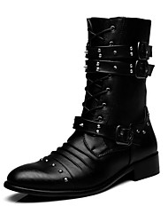cheap -Men's Comfort Shoes Leather Fall & Winter Boots Booties / Ankle Boots Black