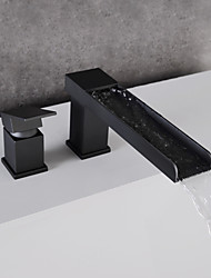 cheap -Bathroom Sink Faucet - Waterfall Black Widespread Single Handle Two HolesBath Taps